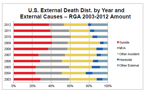 U.S. External Death Dist. by Year and External Causes Amount